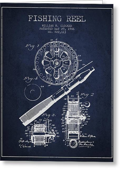 Tackle Greeting Cards - Fishing Reel Patent from 1906 - Navy Blue Greeting Card by Aged Pixel