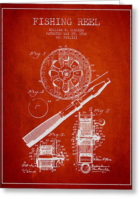 Fishing Rods Greeting Cards - Fishing Reel Patent from 1906 - Red Greeting Card by Aged Pixel