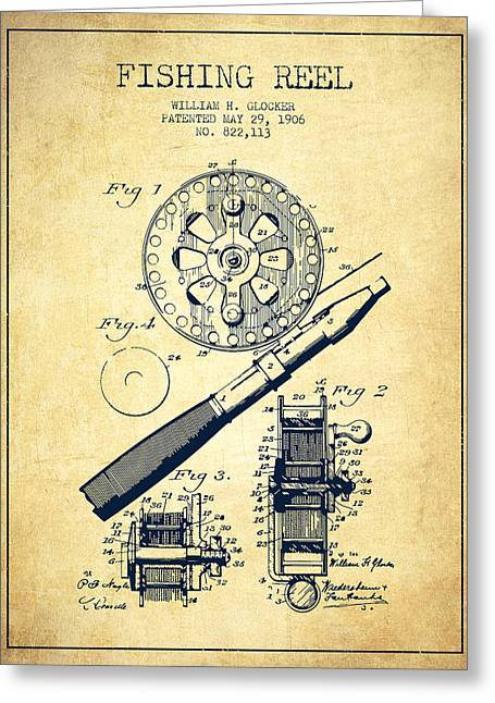 Tackle Greeting Cards - Fishing Reel Patent from 1906 - Vintage Greeting Card by Aged Pixel