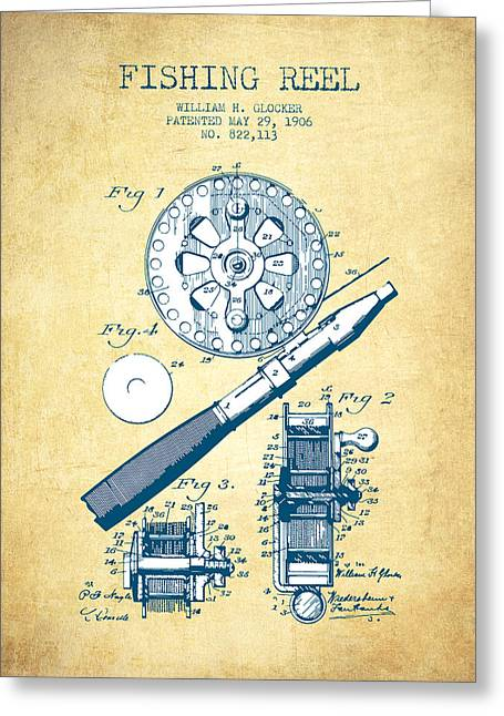 Fly Fishing Digital Art Greeting Cards - Fishing Reel Patent from 1906 - Vintage Paper Greeting Card by Aged Pixel