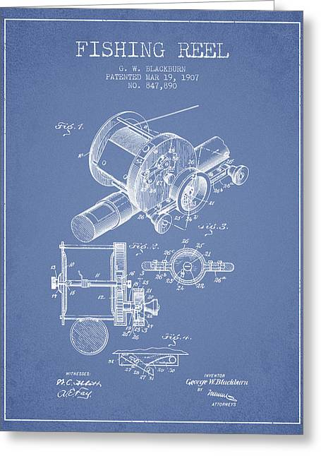 Tackle Greeting Cards - Fishing Reel Patent from 1907 - Light Blue Greeting Card by Aged Pixel