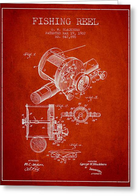 Tackle Greeting Cards - Fishing Reel Patent from 1907 - Red Greeting Card by Aged Pixel