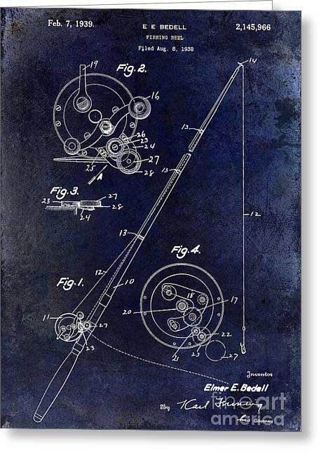 Fly Photographs Greeting Cards - Fishing Reel Patent 1939 Blue Greeting Card by Jon Neidert