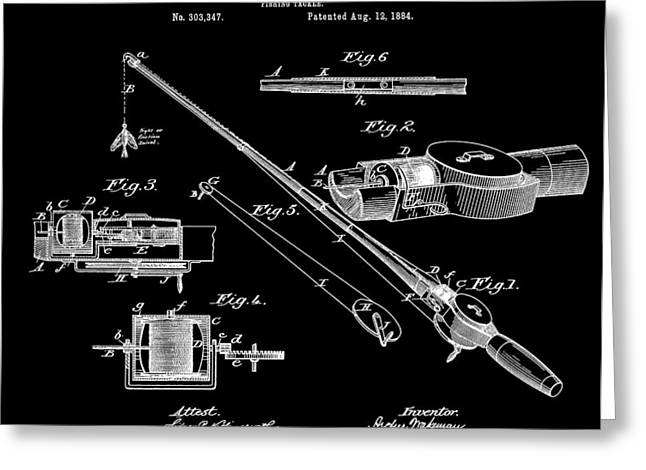 Fishing Bait Shop Greeting Cards - Fishing Rod Patent Greeting Card by Dan Sproul