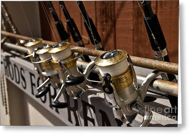 Fishing Rods Photographs Greeting Cards - Fishing Rods for Rent Greeting Card by Amy Cicconi