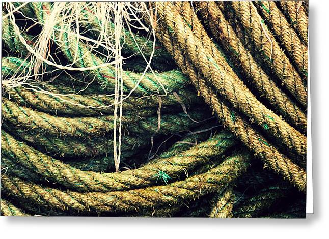 Interlaced Greeting Cards - Fishing Rope Textures Greeting Card by Mikel Martinez de Osaba
