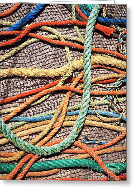Ships Detail Greeting Cards - Fishing Ropes and Net Greeting Card by Carlos Caetano