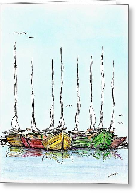 Pen And Paper Greeting Cards - Fishing Sailboats Drawing Pen and Ink Greeting Card by Mario  Perez
