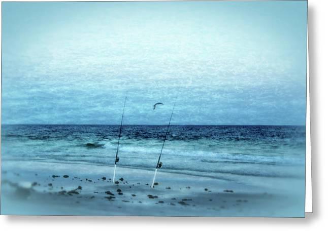 Fishing Greeting Card by Sandy Keeton