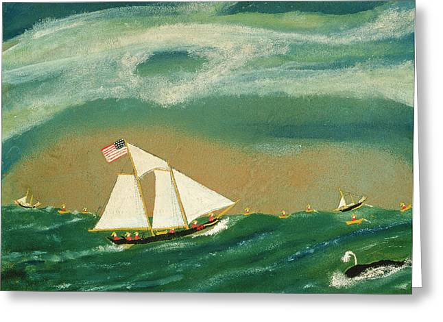 Fishing Schooner Josephine On The Grand Banks Greeting Card by John OJ Frost