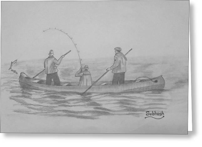 Canoe Drawings Greeting Cards - Fishing..... Greeting Card by Subhash Mathew