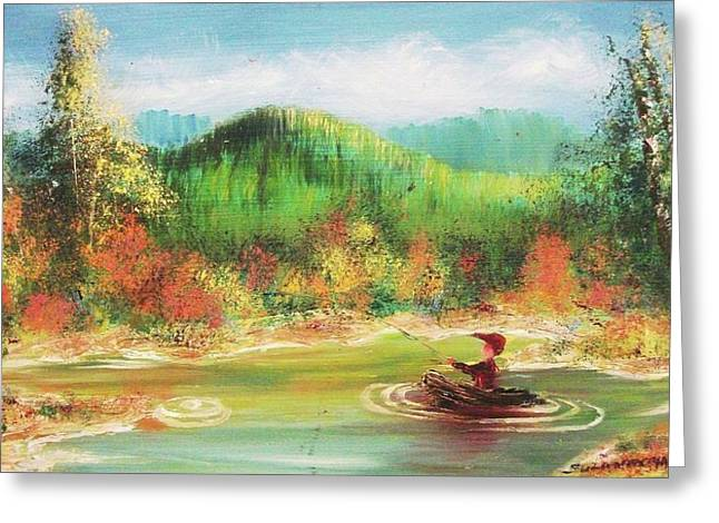 Suzanne Marie Molleur Paintings Greeting Cards - Fishing Greeting Card by Suzanne  Marie Leclair