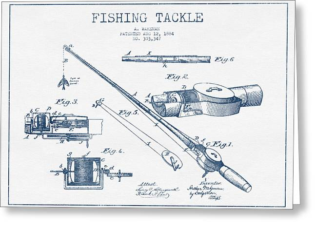 Fishing Greeting Cards - Fishing Tackle Patent Drawing from 1884 - Blue Ink Greeting Card by Aged Pixel