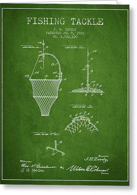 Fishing Rods Greeting Cards - Fishing Tackle Patent from 1912 - Green Greeting Card by Aged Pixel