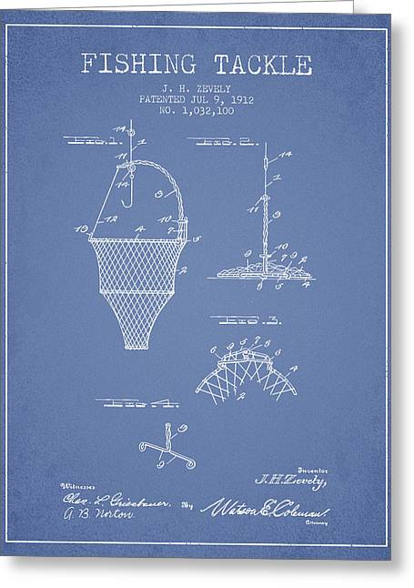Fishing Rods Greeting Cards - Fishing Tackle Patent from 1912 - Light Blue Greeting Card by Aged Pixel