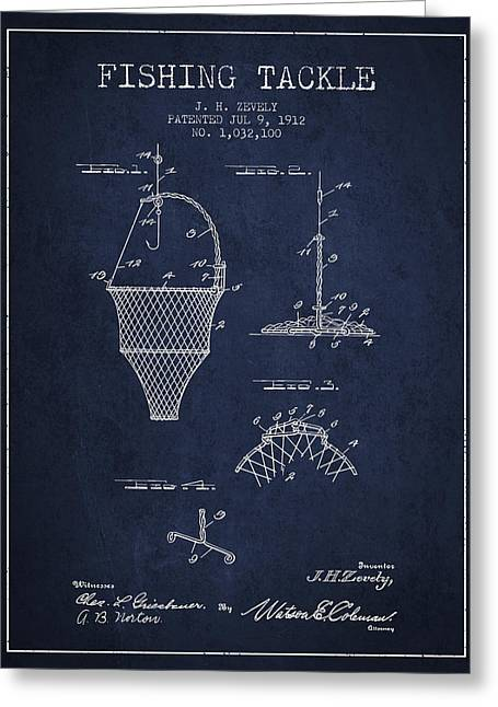 Fishing Rods Greeting Cards - Fishing Tackle Patent from 1912 - Navy Blue Greeting Card by Aged Pixel