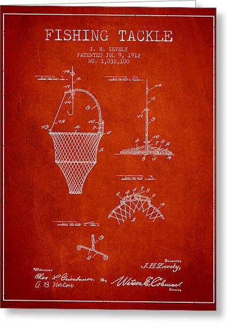 Fishing Rods Digital Art Greeting Cards - Fishing Tackle Patent from 1912 - Red Greeting Card by Aged Pixel