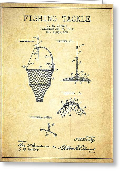 Tackle Greeting Cards - Fishing Tackle Patent from 1912 - Vintage Greeting Card by Aged Pixel