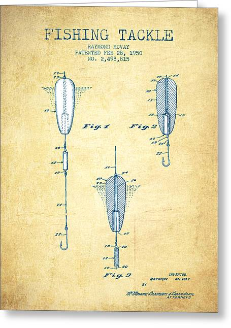 Tackle Greeting Cards - Fishing Tackle Patent from 1950 - Vintage Paper Greeting Card by Aged Pixel
