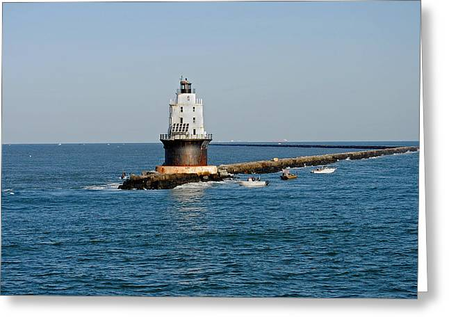 Fishing The Breakwater Greeting Card by Skip Willits