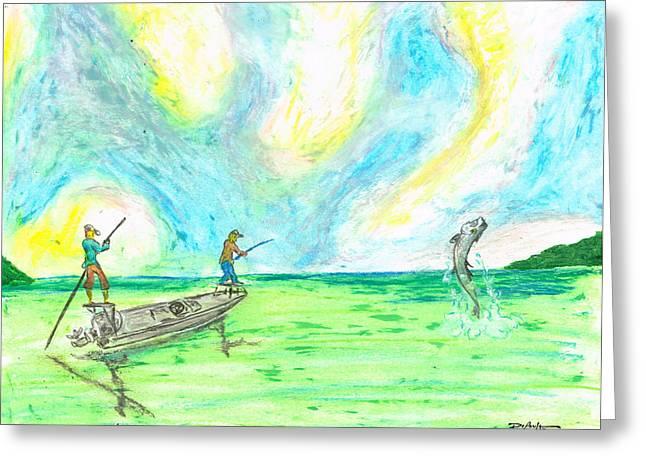 Fishermen Pastels Greeting Cards - Fishing The Flats Tarpon Greeting Card by William Depaula