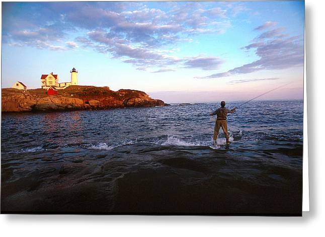 Fly Fishing Print Greeting Cards - Fishing The Nubble Greeting Card by Skip Willits