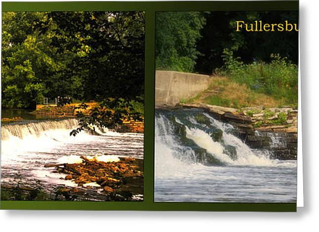 Fishing Creek Greeting Cards - Fishing The Spillway Early Morning Fullersburg Woods 2 Panel Greeting Card by Thomas Woolworth