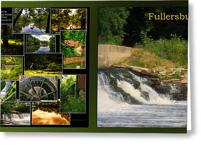 Fishing Creek Greeting Cards - Fishing The Spillway Fullersburg Woods Collage 2 Panel Greeting Card by Thomas Woolworth