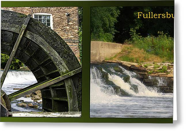 Fishing Creek Greeting Cards - Fishing The Spillway Grist Mill Wheel Fullersburg Woods 2 Panel Greeting Card by Thomas Woolworth