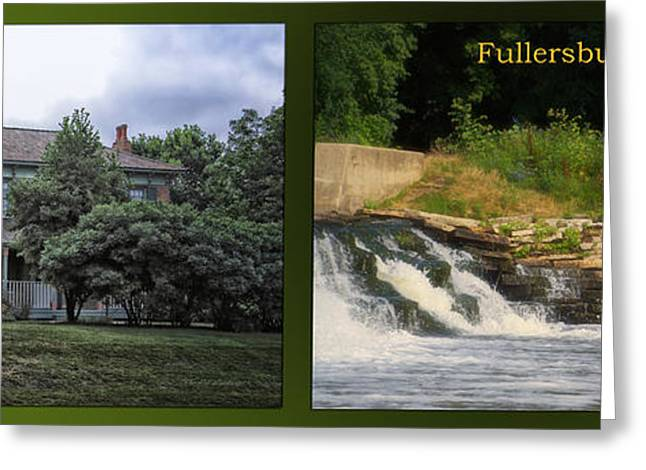 Fishing Creek Greeting Cards - Fishing The Spillway Italianate House Fullersburg Woods 2 Panel Greeting Card by Thomas Woolworth