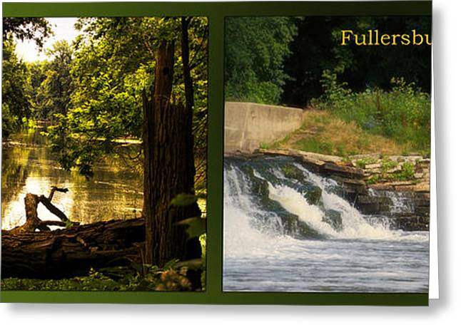 Fishing Creek Greeting Cards - Fishing The Spillway Natural Seating Fullersburg Woods 2 Panel Greeting Card by Thomas Woolworth