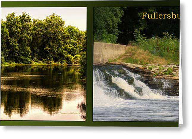 Fishing Creek Greeting Cards - Fishing The Spillway Nature Center 01 Fullersburg Woods 2 Panel Greeting Card by Thomas Woolworth