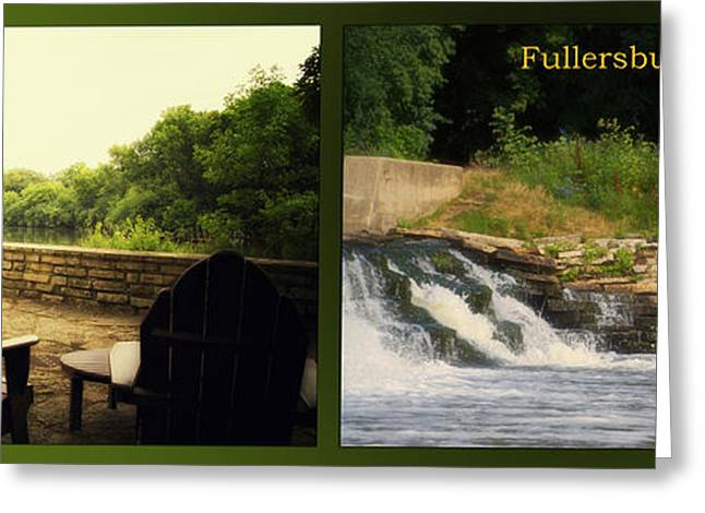 Fishing Creek Greeting Cards - Fishing The Spillway Seating For Two Fullersburg Woods 2 Panel Greeting Card by Thomas Woolworth