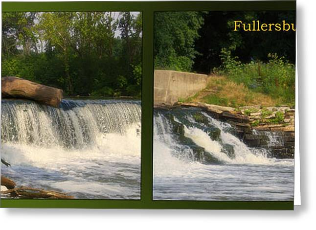 Fishing Creek Greeting Cards - Fishing The Spillway Teeter Totter Log Fullersburg Woods 2 Panel Greeting Card by Thomas Woolworth