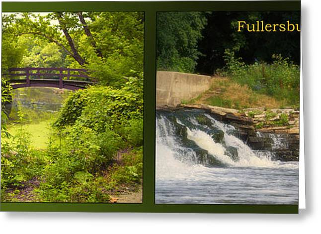 Fishing Creek Greeting Cards - Fishing The Spillway The Bridge Fullersburg Woods 2 Panel Greeting Card by Thomas Woolworth