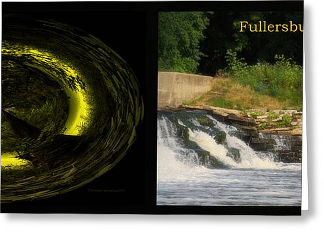 Fishing Creek Greeting Cards - Fishing The Spillway The End Of The Path Polar Fullersburg Woods 2 Panel Greeting Card by Thomas Woolworth