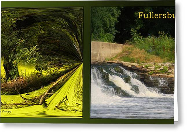 Fishing Creek Greeting Cards - Fishing The Spillway Under The Canopy Fullersburg Woods 2 Panel Greeting Card by Thomas Woolworth