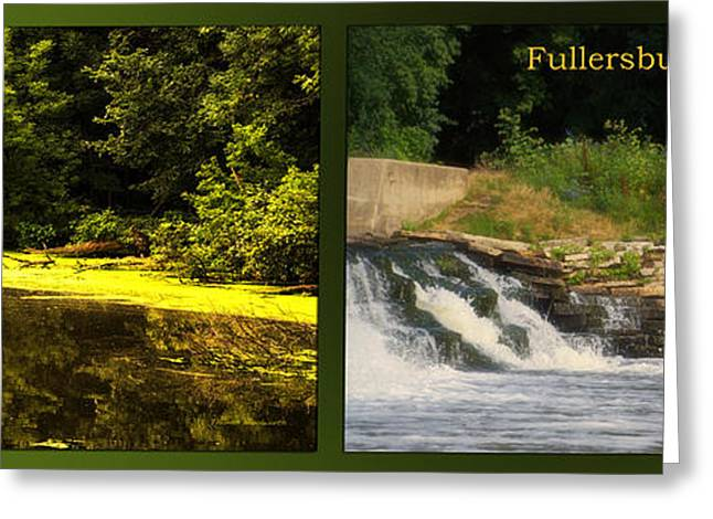 Fishing Creek Greeting Cards - Fishing The Spillway Waiting For Breakfast Fullersburg Woods 2 Panel Greeting Card by Thomas Woolworth