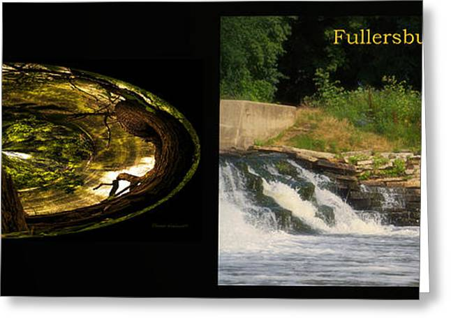 Fishing Creek Greeting Cards - Fishing The Spillway Wood Polar View Fullersburg Woods 2 Panel Greeting Card by Thomas Woolworth