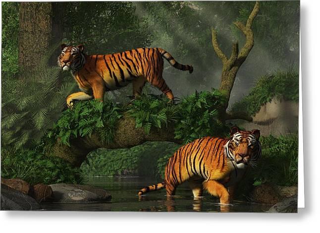 Fishing Tigers Greeting Card by Daniel Eskridge
