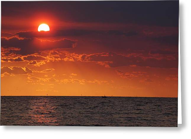 Fishing Till The Sun Goes Down Greeting Card by Michael Thomas