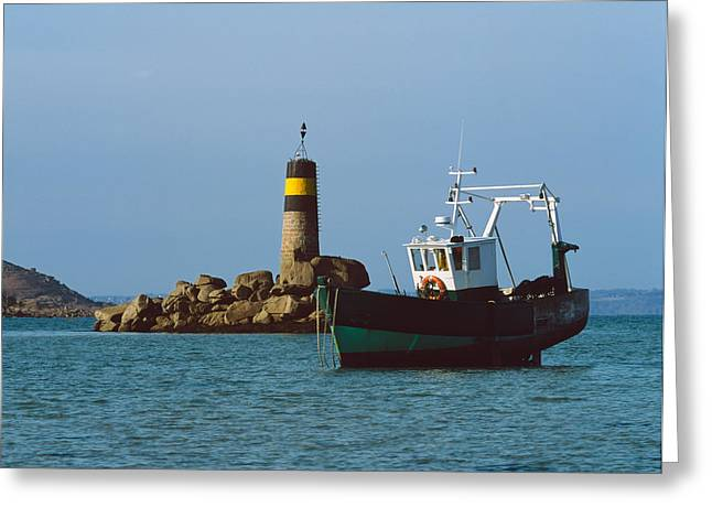 Trawler Greeting Cards - Fishing Trawler In Front Greeting Card by Panoramic Images