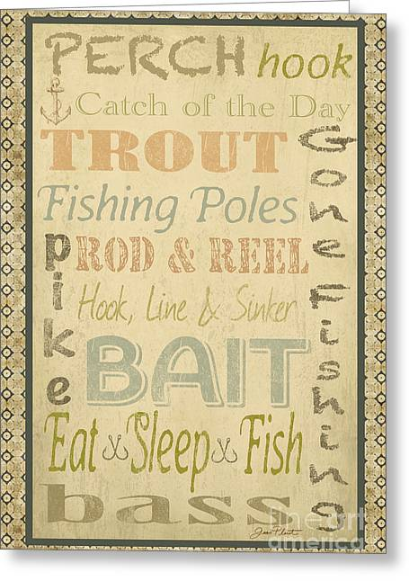 Trout Fishing Greeting Cards - Fishing Typography-A Greeting Card by Jean Plout