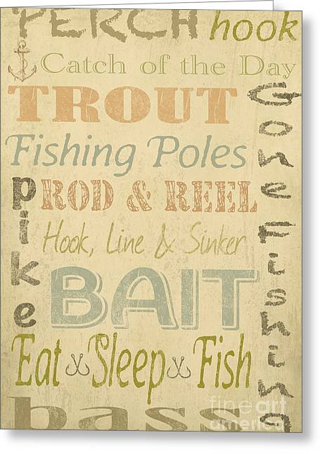 Trout Fishing Greeting Cards - Fishing Typography-B Greeting Card by Jean Plout