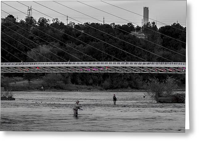 Fishing Creek Greeting Cards - Fishing under the Sundial Bridge Greeting Card by Along The Trail