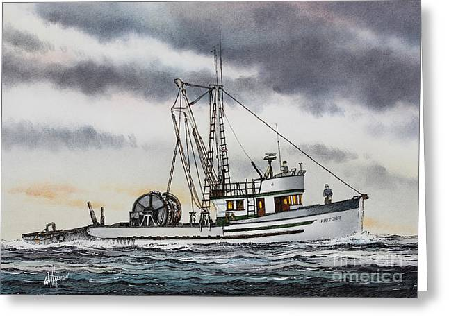 Seattle Framed Prints Greeting Cards - Fishing Vessel ARIZONA Greeting Card by James Williamson