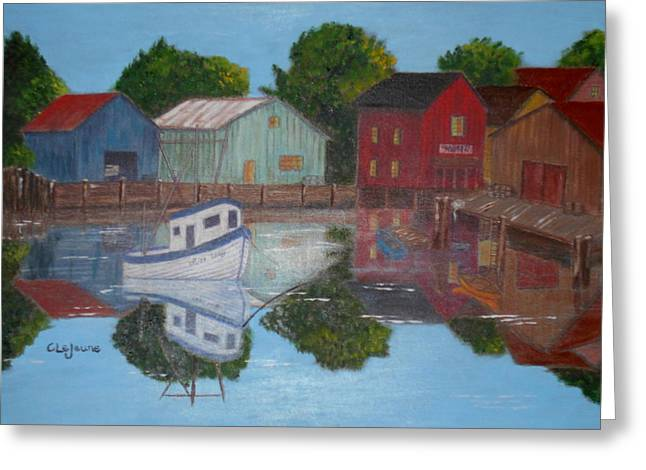 Fishing Boats Pastels Greeting Cards - Fishing Village Greeting Card by Charlyn LeJeune