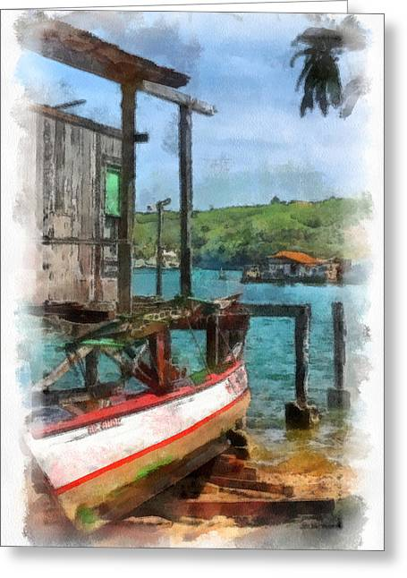 Santiago Cuba Greeting Cards - Fishing Village Greeting Card by Dawn Currie
