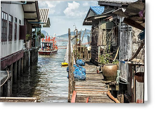 Native Architecture Greeting Cards - Fishing Village in Koh Lanta Thailand Greeting Card by Nomad Art And  Design