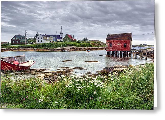 Red Fishing Shack Greeting Cards - Fishing Village - Nova Scotia - Canada Greeting Card by Nikolyn McDonald